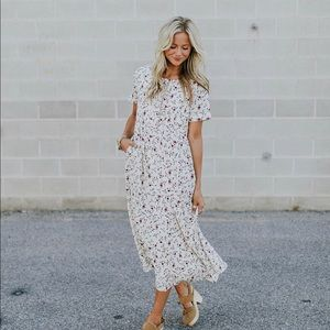 Roolee cream floral button down dress